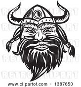 Vector Clip Art of Retro Woodcut Male Viking Norseman Warrior Face with a Long Beard and Horned Helmet by Patrimonio