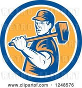 Vector Clip Art of Retro Woodcut Male Worker Carrying a Sledgehammer in a Circle by Patrimonio