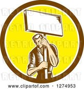 August 14th, 2018: Vector Clip Art of Retro Woodcut Male Worker Holding a Placard Sign Post in a Brown White and Yellow Circle by Patrimonio