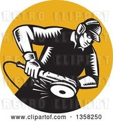 Vector Clip Art of Retro Woodcut Male Worker Using an Angle Grander in an Orange Circle by Patrimonio