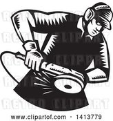 Vector Clip Art of Retro Woodcut Male Worker Using an Angle Grinder by Patrimonio
