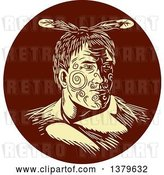 Vector Clip Art of Retro Woodcut Maori Chief Warrior with Face Tattoos in a Brown Circle by Patrimonio