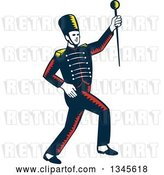 Vector Clip Art of Retro Woodcut Marching Band Drum Major Holding up a Baton by Patrimonio