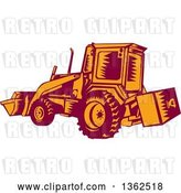 Vector Clip Art of Retro Woodcut Maroon and Orange Excavator Machine by Patrimonio