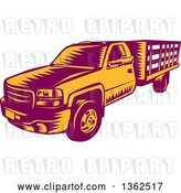 Vector Clip Art of Retro Woodcut Maroon and Orange Pickup Truck by Patrimonio