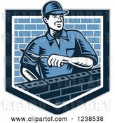 Vector Clip Art of Retro Woodcut Mason Guy Laying Bricks in a Shield by Patrimonio