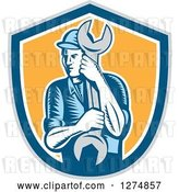 Vector Clip Art of Retro Woodcut Mechanic Guy Holding a Giant Spanner Wrench in a Gray Blue White and Yellow Shield by Patrimonio