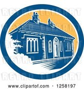 Vector Clip Art of Retro Woodcut Medieval House in Bath England in a Blue White and Yellow Oval by Patrimonio