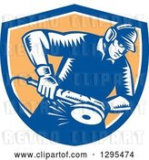 Vector Clip Art of Retro Woodcut Metal Worker Using a Grinder in a Blue White and Orange Shield by Patrimonio