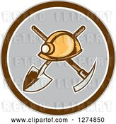 Vector Clip Art of Retro Woodcut Miner Hat over a Crossed Shovel and Pickaxe in a Brown White and Gray Circle by Patrimonio