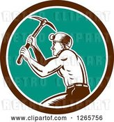 Vector Clip Art of Retro Woodcut Miner Working with a Pickaxe in a Brown White and Turquoise Circle by Patrimonio