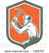 Vector Clip Art of Retro Woodcut Miner Working with a Pickaxe in a Green White and Orange Shield by Patrimonio