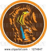 Vector Clip Art of Retro Woodcut Miner Working with a Sledghammer in an Orange White and Brown Circle by Patrimonio