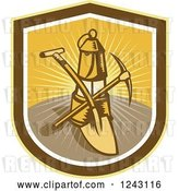 Vector Clip Art of Retro Woodcut Mining Lantern, Shovel and Pickaxe in a Sunny Shield by Patrimonio
