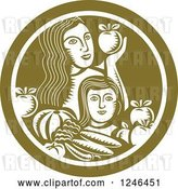 Vector Clip Art of Retro Woodcut Mother and Child with Produce in a Green Circle by Patrimonio