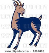 Vector Clip Art of Retro Woodcut Mountain Goat by Patrimonio