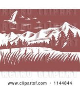 Vector Clip Art of Retro Woodcut Mountains with Geese by Patrimonio