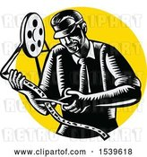 Vector Clip Art of Retro Woodcut Movie Director Cutting a Film Reel, over a Yellow Circle by Patrimonio