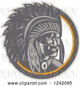 Vector Clip Art of Retro Woodcut Native American Chief in a Circle by Patrimonio