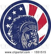 Vector Clip Art of Retro Woodcut Native American Chief in an American Flag Circle by Patrimonio