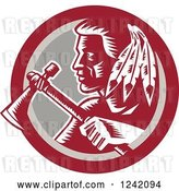Vector Clip Art of Retro Woodcut Native American Indian Brave Warrior with a Tomahawk in a Circle by Patrimonio