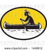 Vector Clip Art of Retro Woodcut Native American Indian Paddling a Canoe in a Yellow Oval Oval by Patrimonio