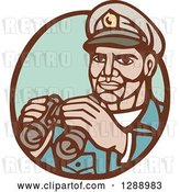 Vector Clip Art of Retro Woodcut Navy Admirial Officer Holding Binoculars in a Brown and Green Oval by Patrimonio