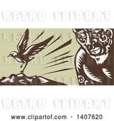 Vector Clip Art of Retro Woodcut of a God, Tagaloa, Looking at His Plover Bird Daughter Landing on a Treeless Island by Patrimonio