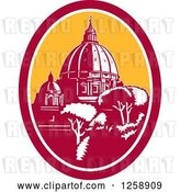Vector Clip Art of Retro Woodcut of the Dome of St Peter's Basilica Vatican Church in Rome, Italy by Patrimonio