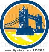 Vector Clip Art of Retro Woodcut of the London Tower Bridge in a Circle by Patrimonio