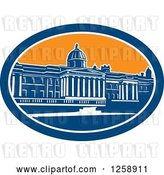 Vector Clip Art of Retro Woodcut of the National Gallery Building in Trafalgar Square, London, England by Patrimonio