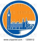 Vector Clip Art of Retro Woodcut of Westminster Palace in London, England with Big Ben in a Blue White and Orange Circle by Patrimonio