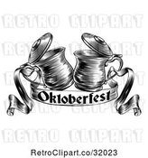 Vector Clip Art of Retro Woodcut or Engraved Beer Steins or Tankards Chinking Together in a Toast over an Oktoberfest Ribbon Banner by AtStockIllustration