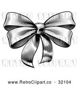 Vector Clip Art of Retro Woodcut or Etched Gift Bow by AtStockIllustration
