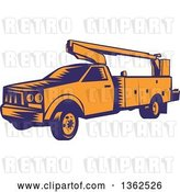 Vector Clip Art of Retro Woodcut Orange and Blue Cherry Picker Lift Truck by Patrimonio