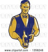 Vector Clip Art of Retro Woodcut Orange and Blue Male Waiter Presenting a Wine Bottle by Patrimonio