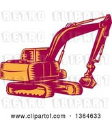 Vector Clip Art of Retro Woodcut Orange and Red Mechanical Excavator Digger Machine by Patrimonio