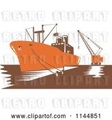 Vector Clip Art of Retro Woodcut Orange Cargo Carrier Ship at Dock by Patrimonio