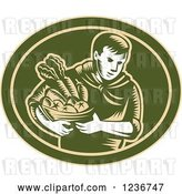 Vector Clip Art of Retro Woodcut Organic Farmer with Produce in a Green Oval by Patrimonio