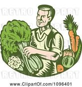 Vector Clip Art of Retro Woodcut Organic Farmer with with Leafy Green and Root Vegetables by Patrimonio