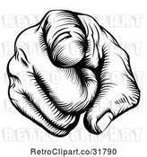 Vector Clip Art of Retro Woodcut Outward Pointing Hand by AtStockIllustration