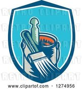 Vector Clip Art of Retro Woodcut Paintbrush and Can in a Blue and White Shield by Patrimonio