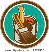 Vector Clip Art of Retro Woodcut Paintbrush and Can in a Brown White and Turquoise Circle by Patrimonio