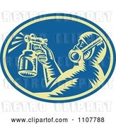 Vector Clip Art of Retro Woodcut Painter Using a Spray Gun in a Blue Oval by Patrimonio