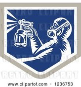 Vector Clip Art of Retro Woodcut Painter Using a Spray Gun in a Blue Shield by Patrimonio