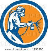 Vector Clip Art of Retro Woodcut Painter Using a Spray Gun in a Blue White and Orange Circle by Patrimonio