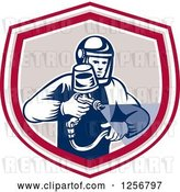 Vector Clip Art of Retro Woodcut Painter Using a Spray Gun in a Red Tan and White Shield by Patrimonio