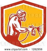 Vector Clip Art of Retro Woodcut Painter Using a Spray Gun in a Red White and Yellow Shield by Patrimonio