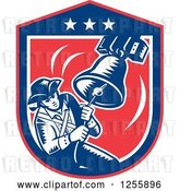 Vector Clip Art of Retro Woodcut Patriot Ringing a Liberty Bell in an American Shield by Patrimonio