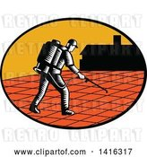 Vector Clip Art of Retro Woodcut Paver Sealer Contractor Worker Sealing Paving near a House by Patrimonio